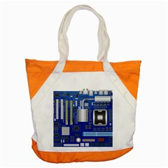 Classic Blue Computer Mainboard Accent Tote Bag