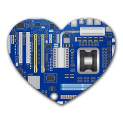 Classic Blue Computer Mainboard Heart Mousepads by BangZart