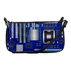 Classic Blue Computer Mainboard Shoulder Clutch Bags by BangZart