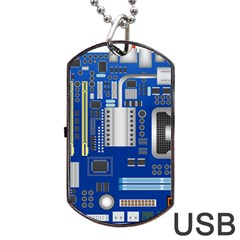 Classic Blue Computer Mainboard Dog Tag Usb Flash (two Sides) by BangZart