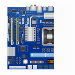Classic Blue Computer Mainboard Large Garden Flag (two Sides)