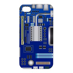 Classic Blue Computer Mainboard Apple Iphone 4/4s Premium Hardshell Case by BangZart
