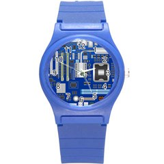 Classic Blue Computer Mainboard Round Plastic Sport Watch (s) by BangZart
