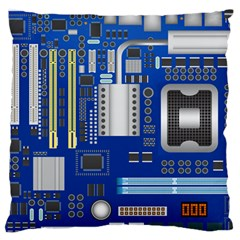 Classic Blue Computer Mainboard Large Cushion Case (two Sides) by BangZart