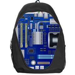 Classic Blue Computer Mainboard Backpack Bag