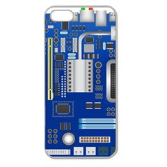 Classic Blue Computer Mainboard Apple Seamless Iphone 5 Case (clear)
