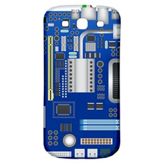 Classic Blue Computer Mainboard Samsung Galaxy S3 S Iii Classic Hardshell Back Case by BangZart