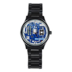 Classic Blue Computer Mainboard Stainless Steel Round Watch by BangZart