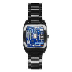 Classic Blue Computer Mainboard Stainless Steel Barrel Watch