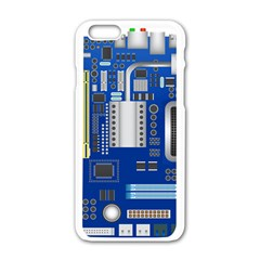 Classic Blue Computer Mainboard Apple Iphone 6/6s White Enamel Case by BangZart