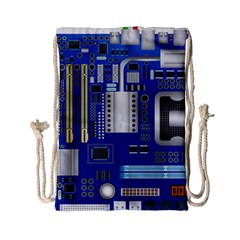 Classic Blue Computer Mainboard Drawstring Bag (small)