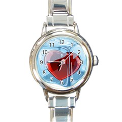 Heart In Ice Cube Round Italian Charm Watch by BangZart