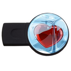 Heart In Ice Cube Usb Flash Drive Round (2 Gb) by BangZart