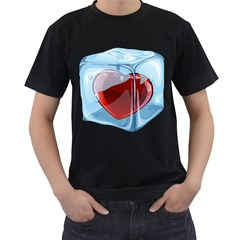 Heart In Ice Cube Men s T Shirt (black) (two Sided)