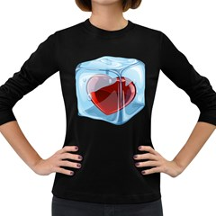 Heart In Ice Cube Women s Long Sleeve Dark T Shirts