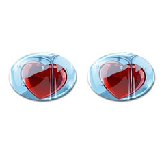Heart In Ice Cube Cufflinks (oval)