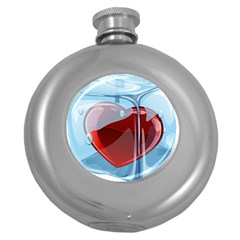 Heart In Ice Cube Round Hip Flask (5 Oz) by BangZart