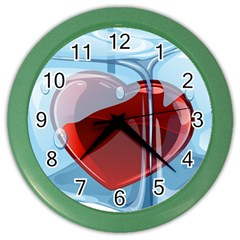 Heart In Ice Cube Color Wall Clocks