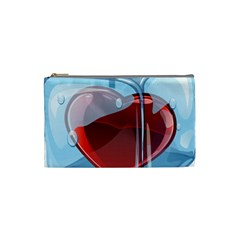 Heart In Ice Cube Cosmetic Bag (small)  by BangZart