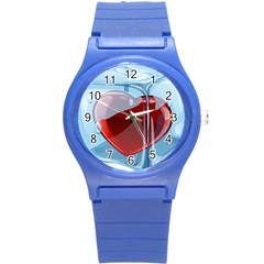 Heart In Ice Cube Round Plastic Sport Watch (s) by BangZart