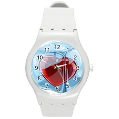 Heart In Ice Cube Round Plastic Sport Watch (m) by BangZart