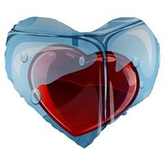 Heart In Ice Cube Large 19  Premium Heart Shape Cushions