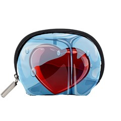 Heart In Ice Cube Accessory Pouches (small)  by BangZart