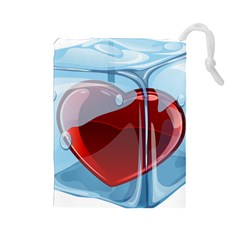 Heart In Ice Cube Drawstring Pouches (large)  by BangZart