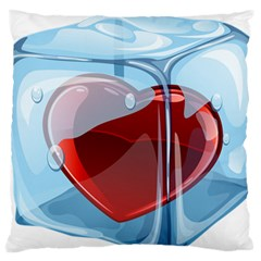 Heart In Ice Cube Large Flano Cushion Case (one Side) by BangZart