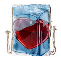 Heart In Ice Cube Drawstring Bag (large) by BangZart