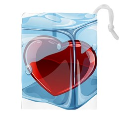 Heart In Ice Cube Drawstring Pouches (xxl)
