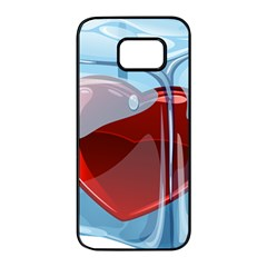 Heart In Ice Cube Samsung Galaxy S7 Edge Black Seamless Case