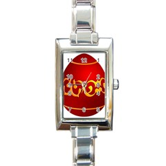 Easter Decorative Red Egg Rectangle Italian Charm Watch