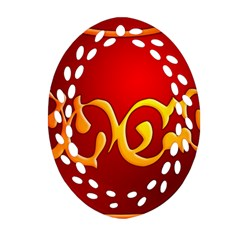 Easter Decorative Red Egg Ornament (oval Filigree)