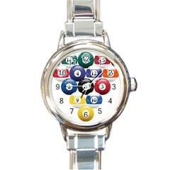 Racked Billiard Pool Balls Round Italian Charm Watch by BangZart