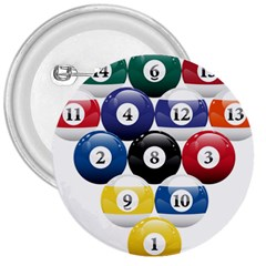 Racked Billiard Pool Balls 3  Buttons by BangZart