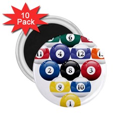 Racked Billiard Pool Balls 2 25  Magnets (10 Pack)