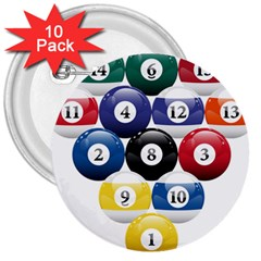 Racked Billiard Pool Balls 3  Buttons (10 Pack)  by BangZart