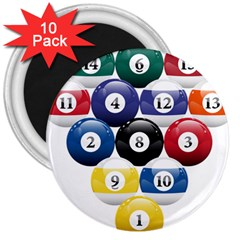 Racked Billiard Pool Balls 3  Magnets (10 Pack)