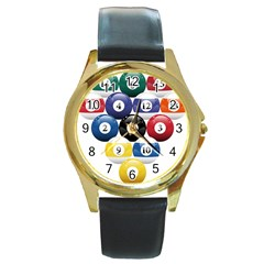 Racked Billiard Pool Balls Round Gold Metal Watch by BangZart