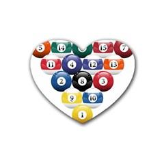 Racked Billiard Pool Balls Heart Coaster (4 Pack)