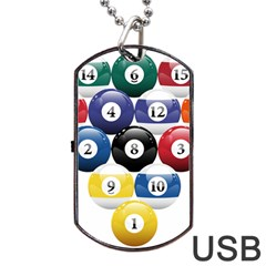 Racked Billiard Pool Balls Dog Tag Usb Flash (one Side) by BangZart