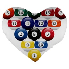 Racked Billiard Pool Balls Large 19  Premium Heart Shape Cushions