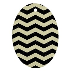 Chevron3 Black Marble & Beige Linen Ornament (oval) by trendistuff