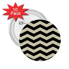 Chevron3 Black Marble & Beige Linen 2 25  Buttons (10 Pack)  by trendistuff