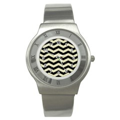 Chevron3 Black Marble & Beige Linen Stainless Steel Watch by trendistuff