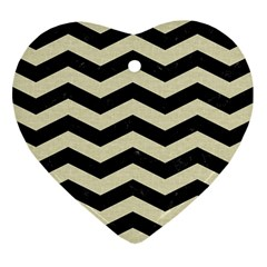 Chevron3 Black Marble & Beige Linen Heart Ornament (two Sides) by trendistuff