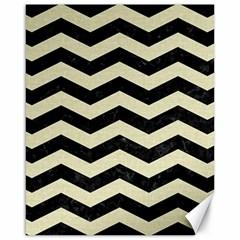Chevron3 Black Marble & Beige Linen Canvas 16  X 20   by trendistuff