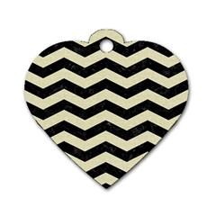 Chevron3 Black Marble & Beige Linen Dog Tag Heart (one Side) by trendistuff