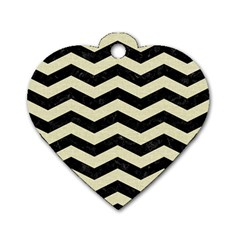 Chevron3 Black Marble & Beige Linen Dog Tag Heart (two Sides) by trendistuff